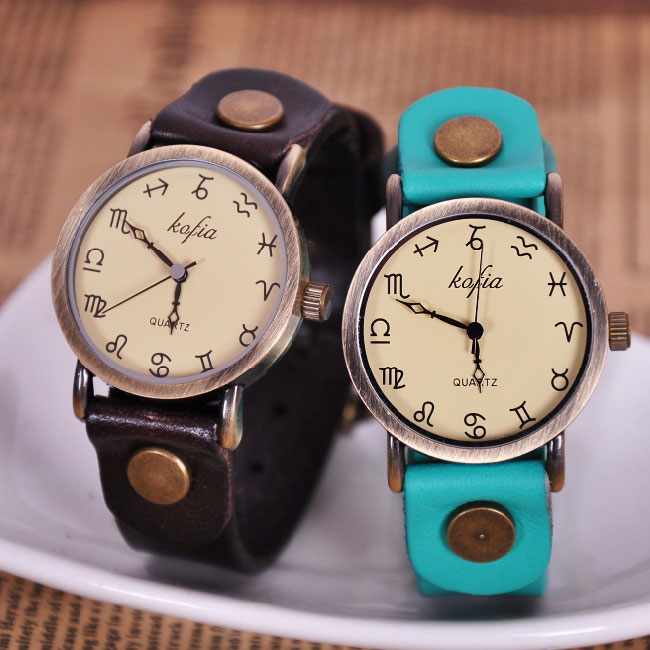 Retro Constellation Symbol Leather watch for sale