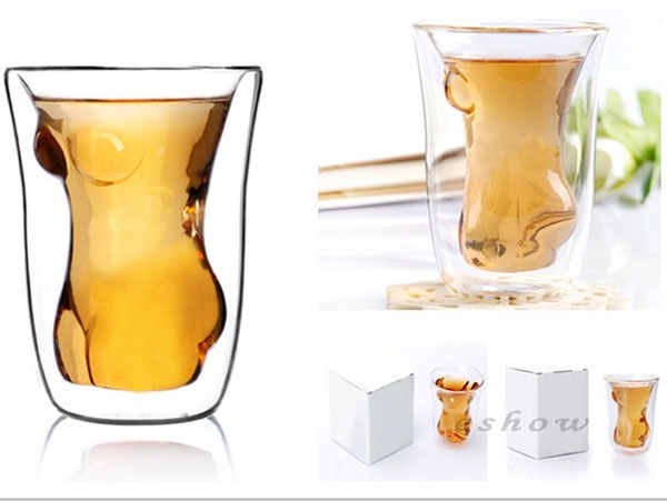 Naked Beauty Transparent Whiskey Beer Glass Cup