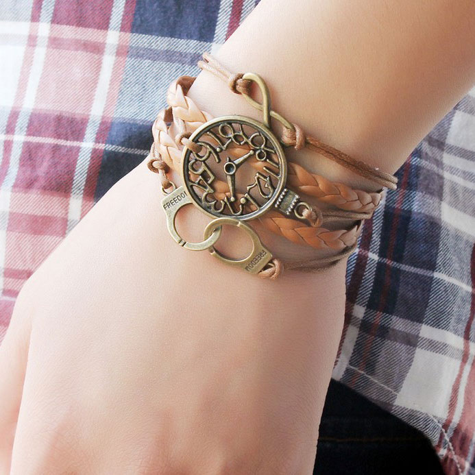 fashion Retro Clock Handcuffs Infinity Bracelet