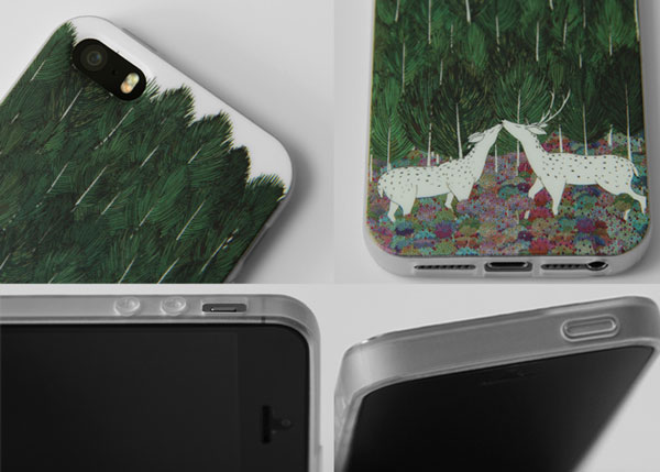 Fresh Hand Painted Tree Sika Deer Silicone Iphone 5/5s/6/6s Case