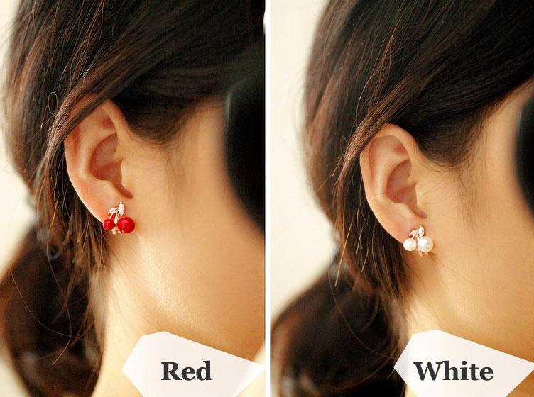 Cute Cherry Pearl 925 Silver Ear Clips/ Studs