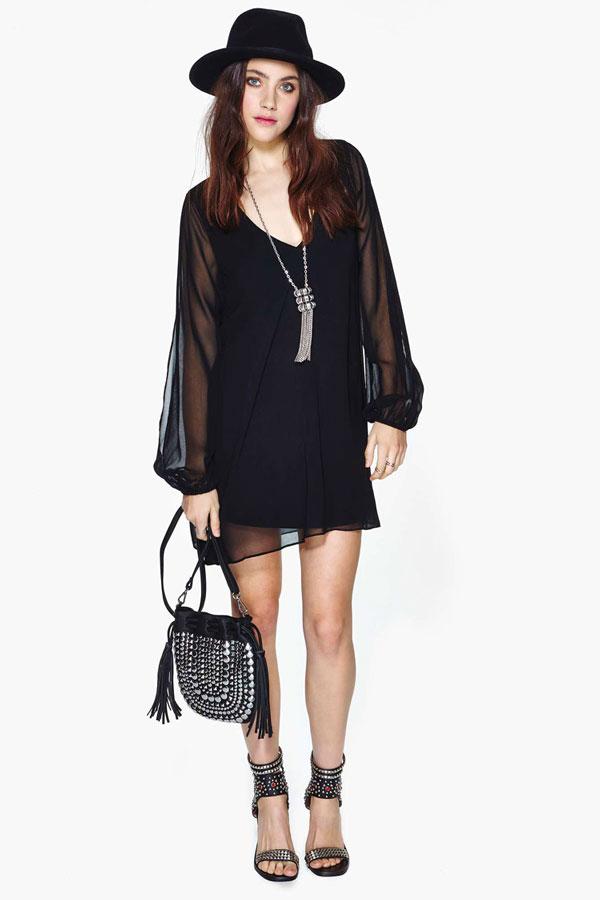 Deep V On Back Embroidery Long Transparent Split Sleeve Dress