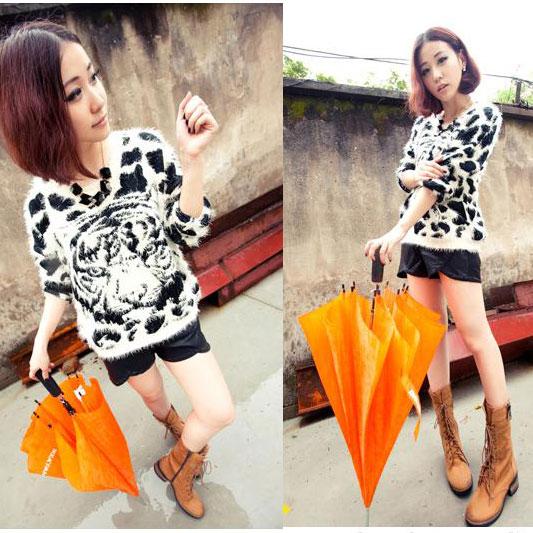 Soft Furry Tiger Pattern Leopard Sweaters