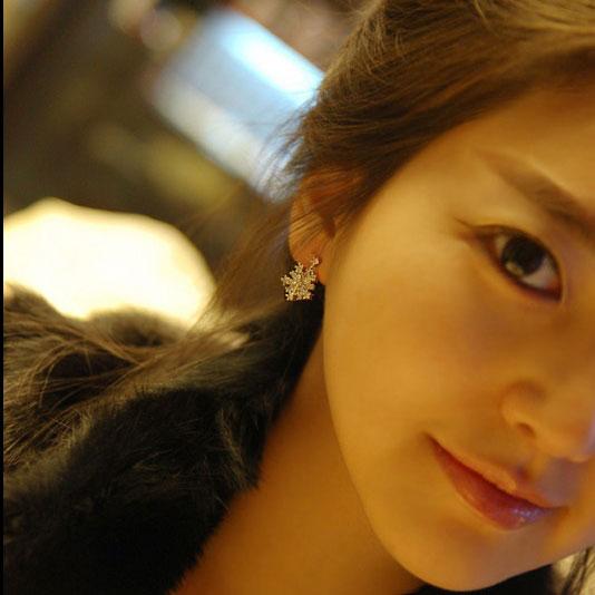 Fashion Snowflake Rhinestone Silver Earrings Studs