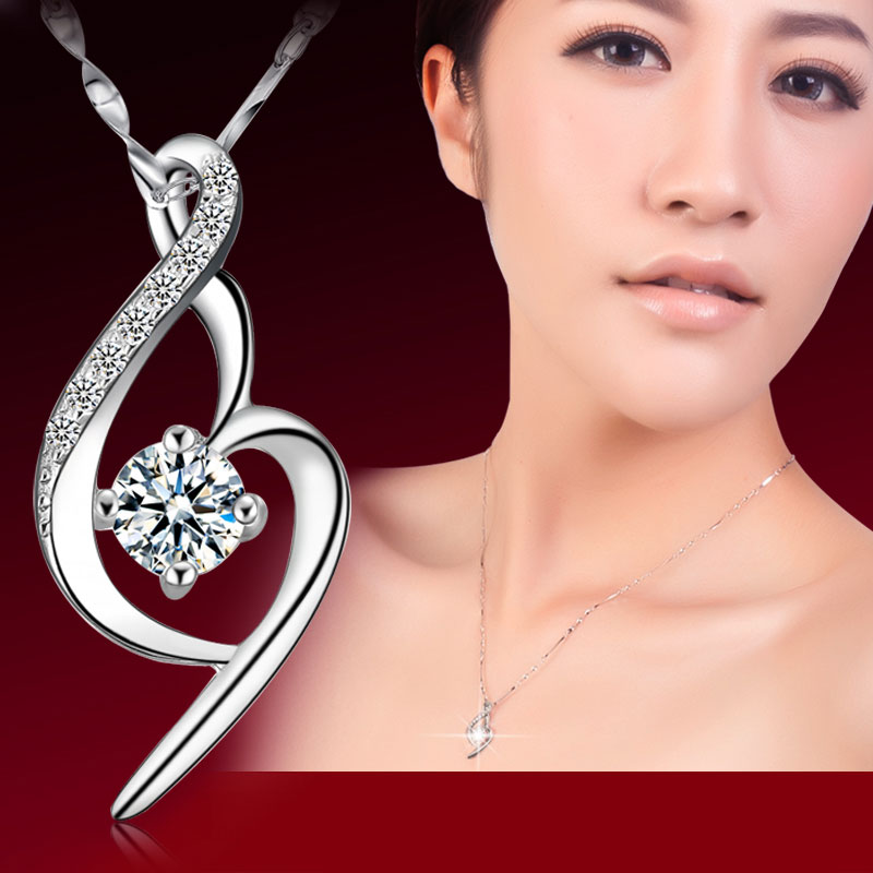 Love Crystal Diamond Silver Necklace