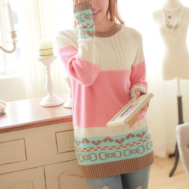 Love Bow Pattern Mixed Colors Sweater