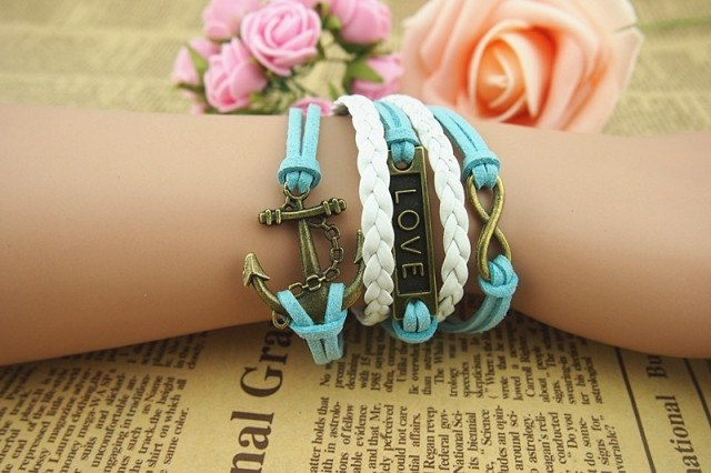 fashion Retro Anchor Love Infinity Weave Bracelet