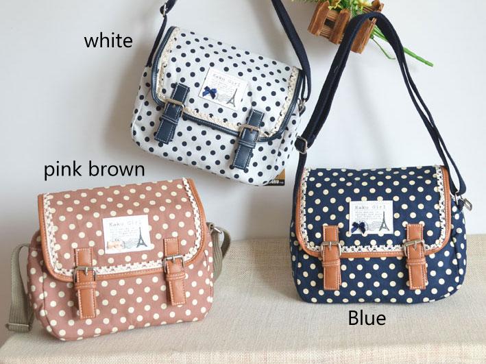 Fresh Polka-dot Print Lace Messenger Bag | Shoulder Bags | Fashion ...