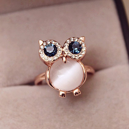 fashion Cute Owl Opal Opening Animal Ring