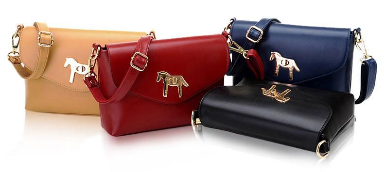 fashion Simple Horse Button Shoulder Bag