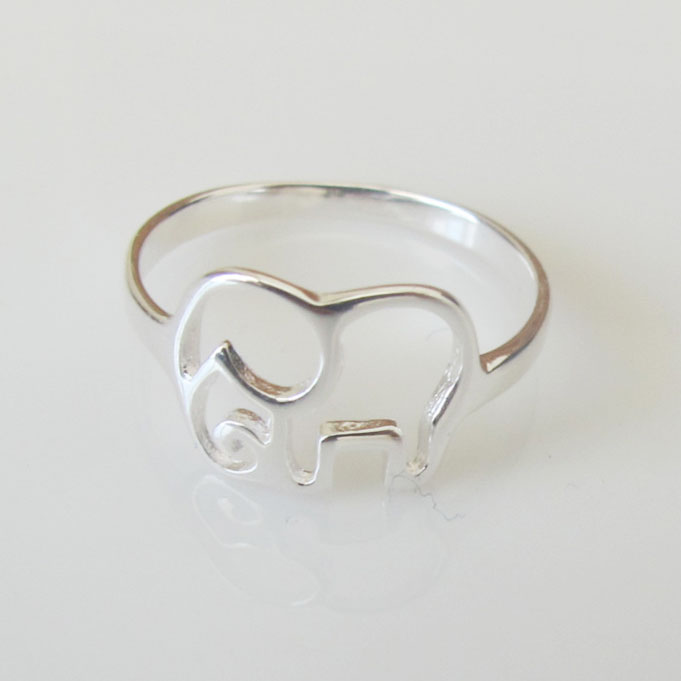 simple hollow elephant silver ring fashion rings