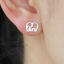 Cute Hollow Elephant Silver Earring Stud