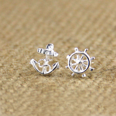fashion Navy Anchor Rudder Silver Earring Stud