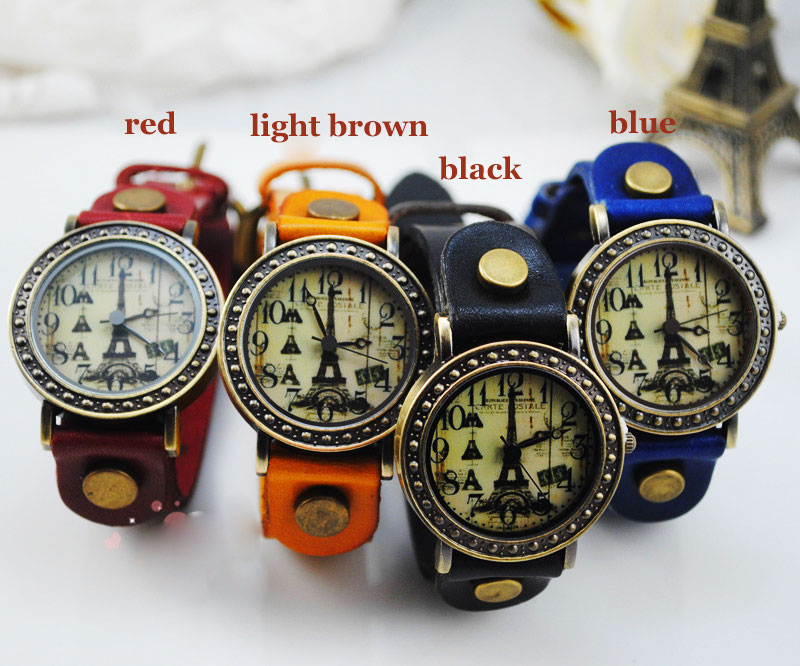Retro  Eiffel Tower Trim Leather Watch
