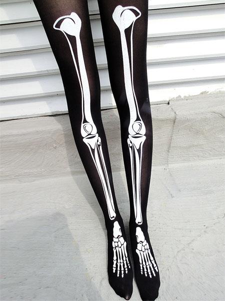 Special Gloomy Bones Printed Silk Stockings