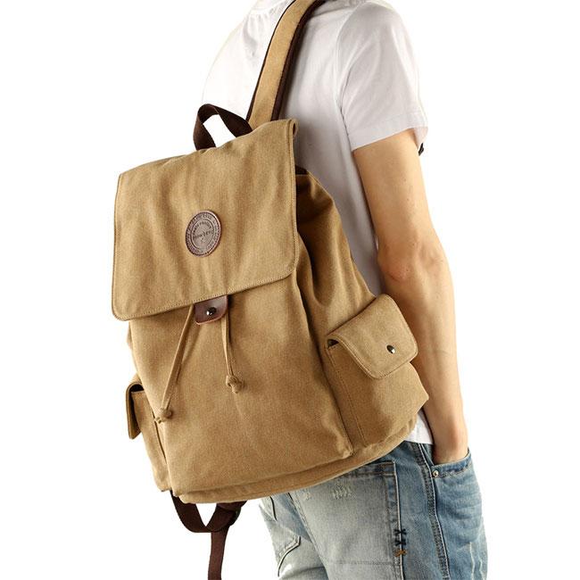 Fashion Men's Retro Canvas Flap Drawstring School Backpack Large Khaki Travel Backpack