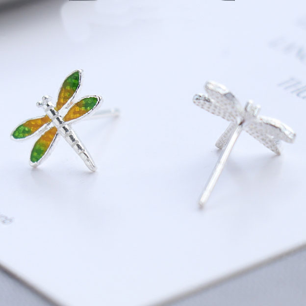 Cute Vivid Dragonfly Yellow Green Wings Silver Girl's Animal Earring Studs