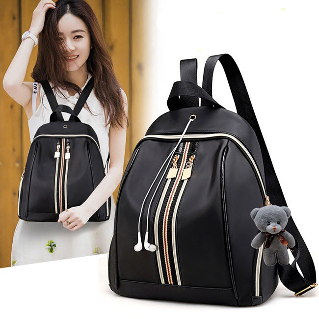 Fashion Double Vertical Stripe Black Nylon School Backpack