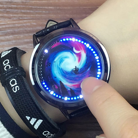 Creative Starry Sky Captain America Iron Man Couple Student Watch LED Light Touch-screen Dial Watch