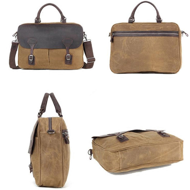 Retro Splicing Leather Waterproof Magnetic Snap Large Laptop Thick Canvas Shoulder Bag