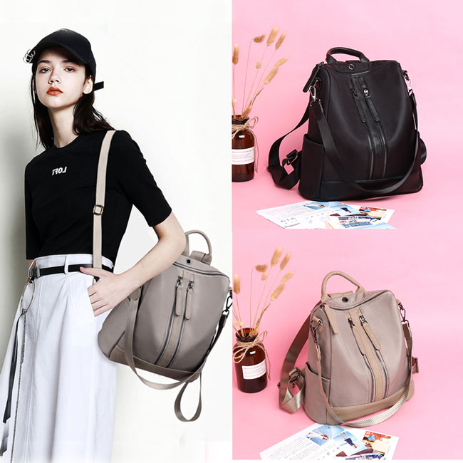 British Style Waterproof Double Zipper Multi-function Handbag Large School Girl's  PU Backpack