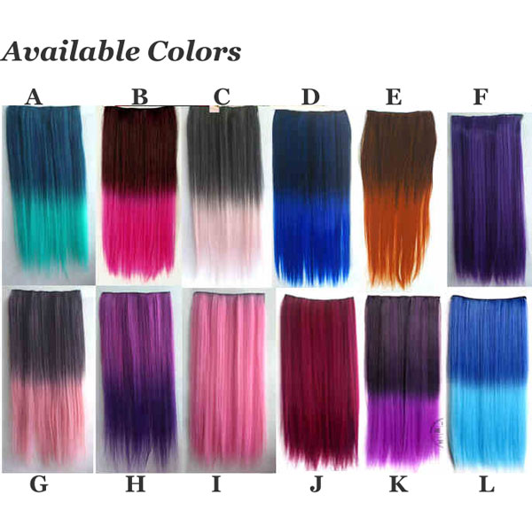 Gradient Colorful Straight Hair Weft