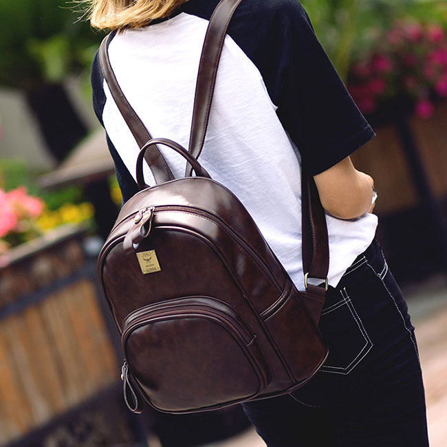 Fashion Square Shape Rounded Edge Whole Colored Matte Retro Girl's PU School Backpack