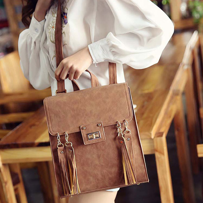 Fashion Square PU Street Style Multifunction Shoulder Bag Retro Frosted Tassels Flap Backpack