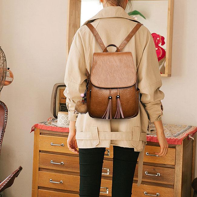 Retro Tassel Simple Brown PU School Bag Simple British Style Backpack