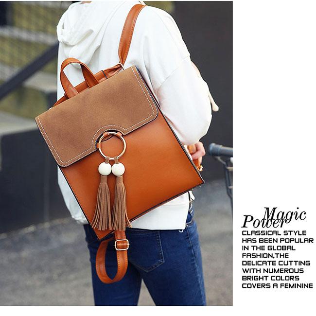 Sweet Pure Color PU Tassel Circular Ring School Backpack