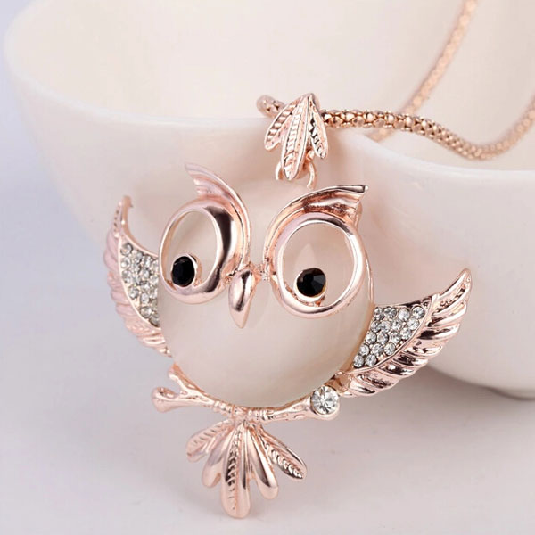 Cute Owl Opal Long Necklace Sweater Chain