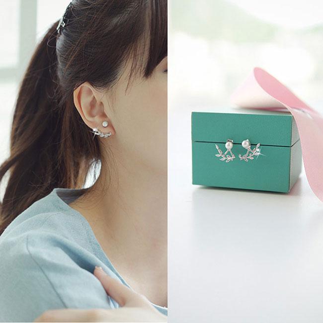 Fashion Leaves Silver Pearl Women's Earrings Studs
