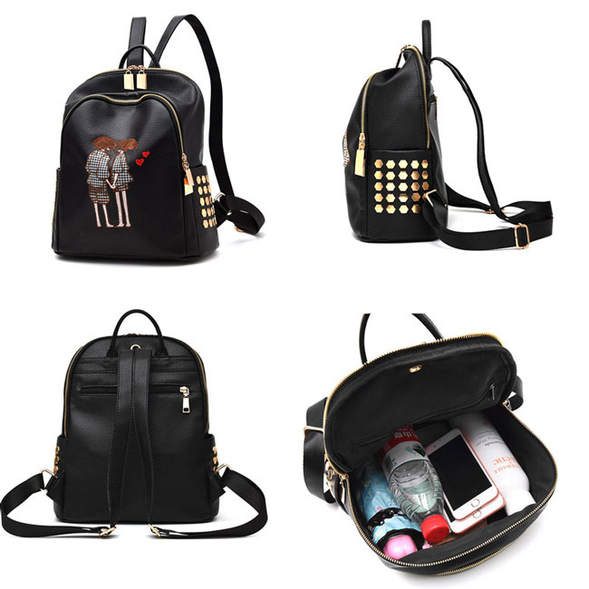 Leisure Black PU Cartoon Lovers Embroidery Rivets Girl's School Bag Travel Backpack