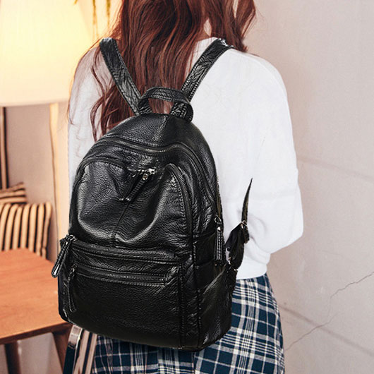 Retro Lichee Waterproof School Bag College Double Zipper Black PU Travel Backpack