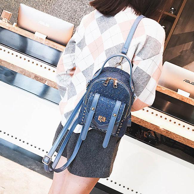 Cute Blue Sequins Rivet Unique Ladies Small Backpack