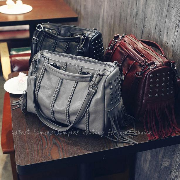 Unique Tassel Rivets Weave Black Large Capacity Zipper Girl's PU Boston Shoulder Bag