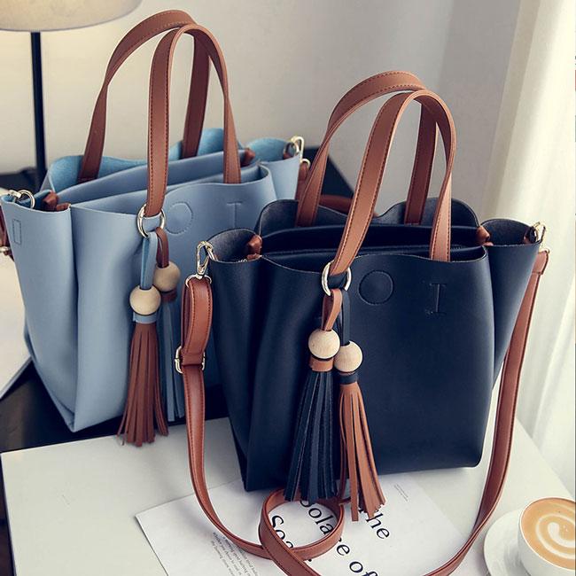Retro Girl's PU Color Blocking Tassels Pendants Simple Shoulder Bag Handbag