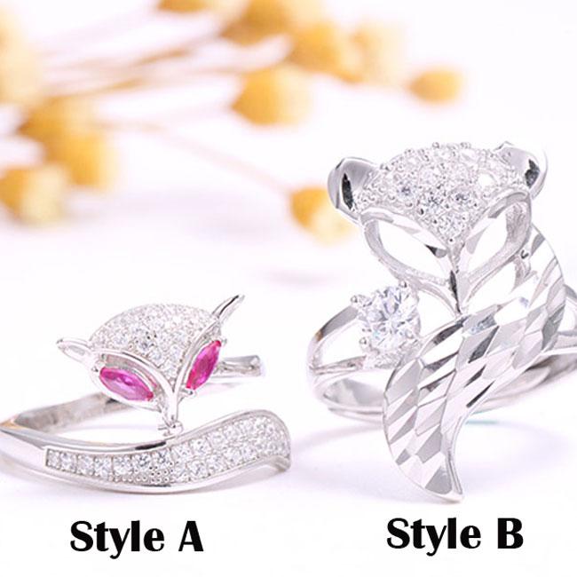 Unique Design Silver Fox Open Animal Diamond Women Ring