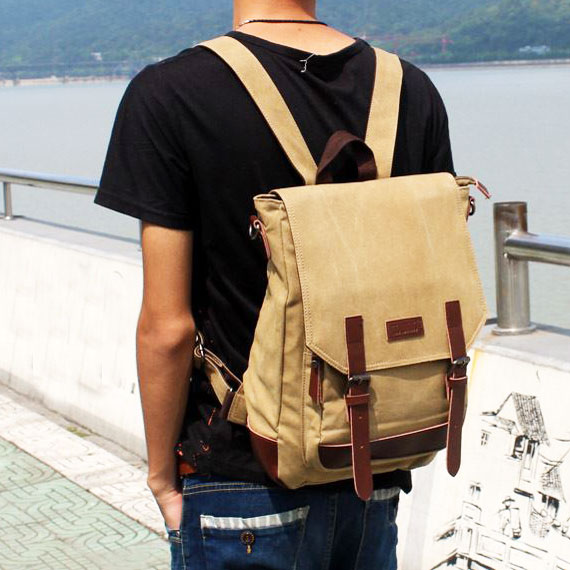 Retro Splicing PU Belts Flap Laptop Bag School Canvas Backpack Travel Square Rucksack