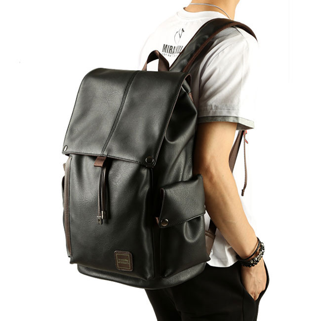 Leisure Men's PU Leather Draw String Large School Bag With USB Interface Capacity Flap Hiking Backpack