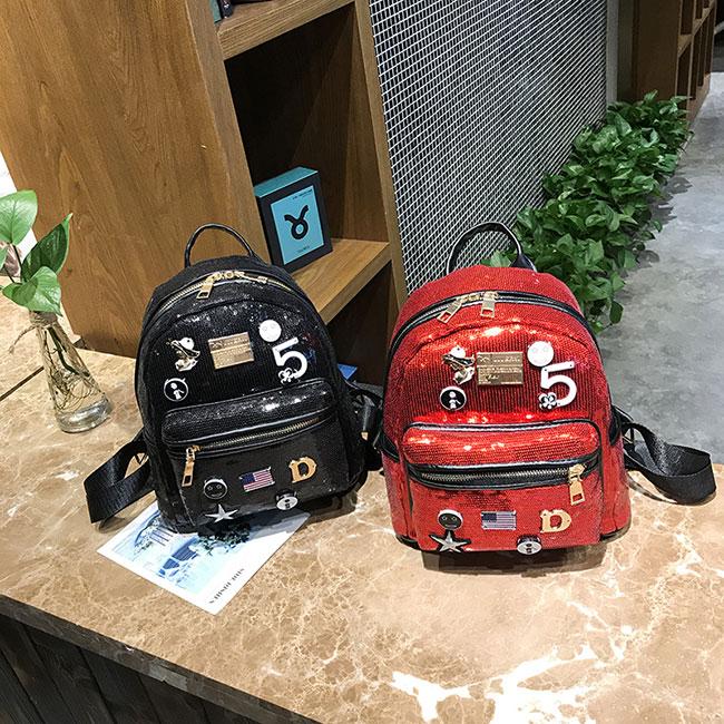 Fashion Women's Mini Sequin Small Badge Digital Star Shiny Student Backpack