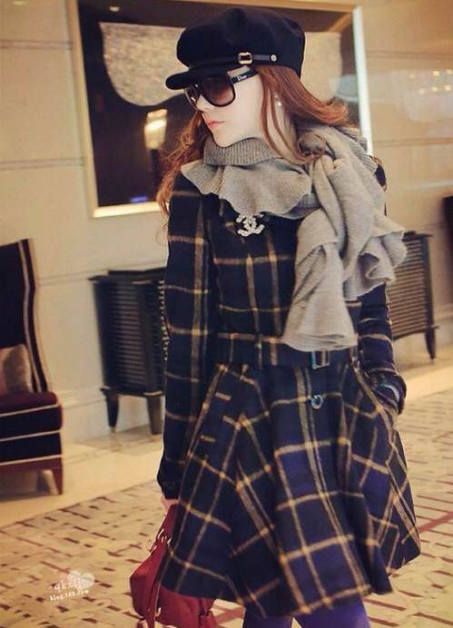 Fresh Classic Grid Pattern Wool Belt Dress