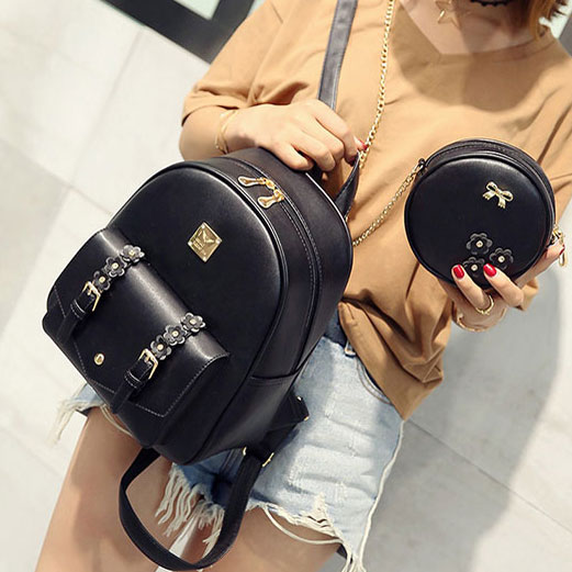 Sweet Girl's Small Stereo Flowers Bag Gift Circular Mini Shoulder Bag PU Backpack