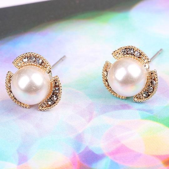 Delicate Pearl Rhinestone Geometry Stud Earrings