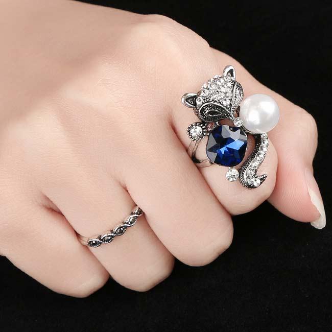 Cute Blue Crystal Pearl Fox Ring Animal Two Set Rings