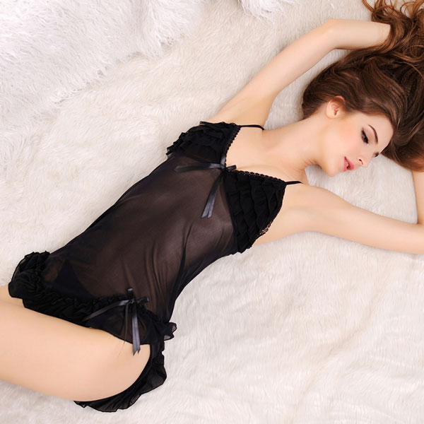 Elegant Black Flounced Irregular Pajamas