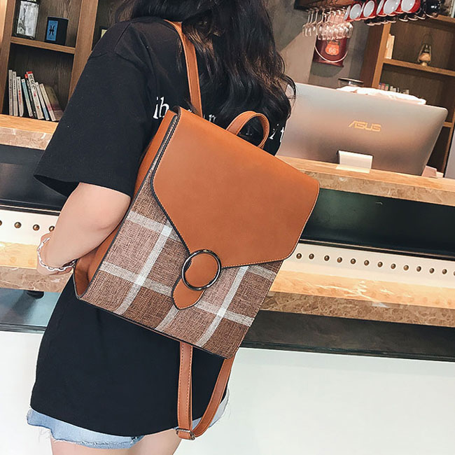 Retro England Style PU Grid Square College Multi-function Shoulder Bag Backpack