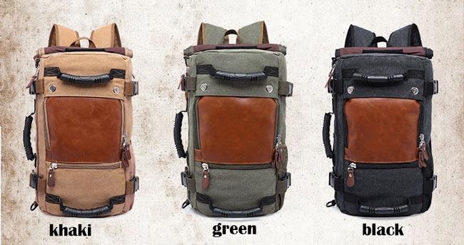 Vintage Cylindrical Drum Travel Multi-function Shoulder Bag Large Camping Canvas Backpack