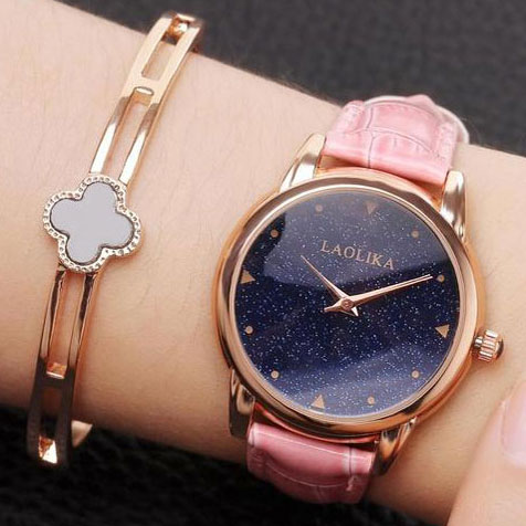 Unique Circular Shining Starry Sky Dial Galaxy Waterproof Women Quartz Watch