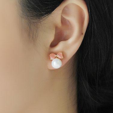 Gift Pretty Bowknot Zircon Pearl Ear Studs